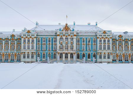 SAINT PETERSBURG, RUSSIA - FEBRUARY 08, 2015: The facade of the Catherine Palace gloomy February day. Tsarskoye Selo St. Petersburg