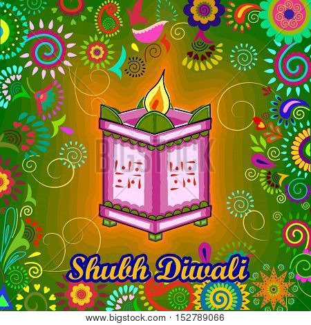 Vector design of Diwali decorated diya on Tulsi plant stand for light festival of India in Indian art style