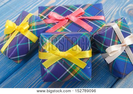 Wrapped Colorful Gifts With Ribbons For Christmas Or Other Celebration