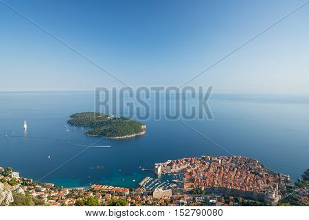 Old Town Dubrovnik, Lokrum Island and the sea landscape, Croatia.