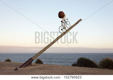 5 November 2013: Bondi Beach, Sydney, Australia - Unusual Skeleton Cyclist Metaphor Exhibit At Sculp