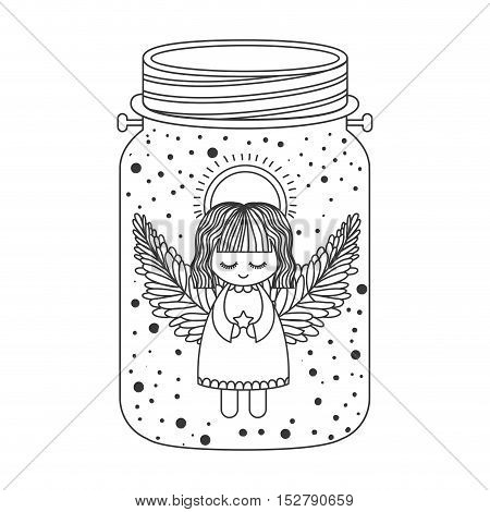 cute angel with wings and halo and holding star inside mason jar icon silhouette. Vector illustration