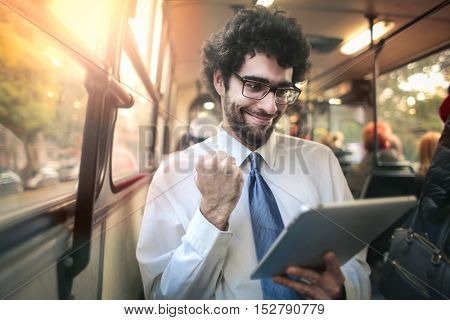 Successful businessman on a tram