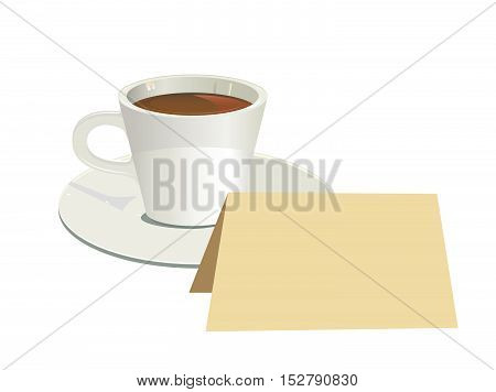 isolated cup of coffee with blank card