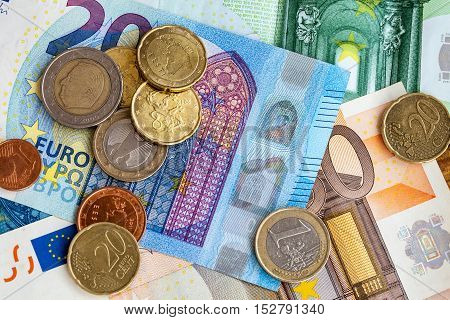 A close up money euro coins and banknotes