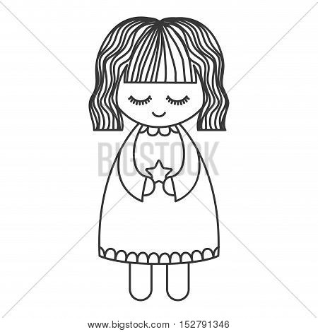 cute angel with wings and halo and holding star silhouette. Vector illustration