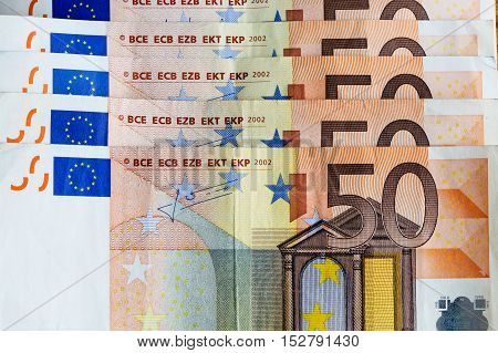 A close up of the money euro banknotes