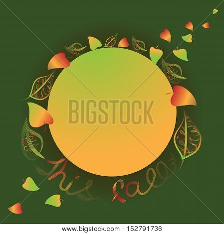 This fall. Vector composition with text on the leaves. Background dark green.