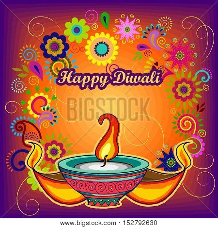 Vector design of Diwali decorated diya for light festival of India in Indian art style