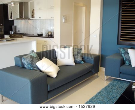 Open Plan Living Room Blue