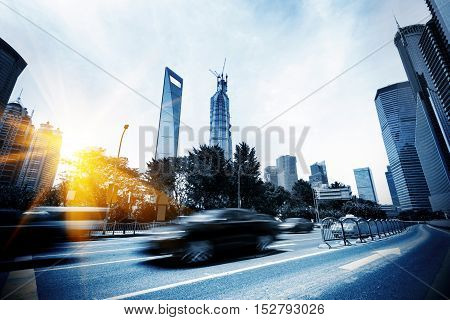 Highways of the city flying car motion blur.