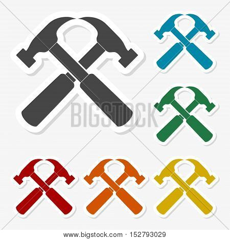 Multicolored paper stickers - Hammer on gray background