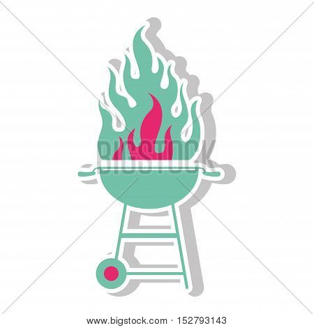 bbq grill menu and flame icon. Steak house food and restaurant theme. Isolated design. Vector illustration