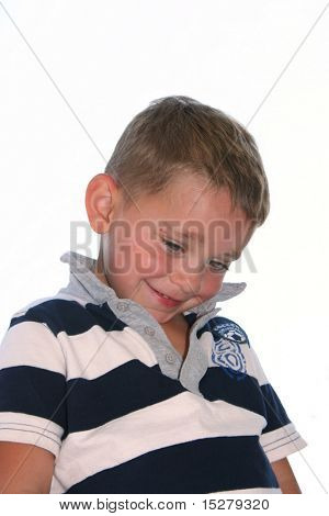 Young boy, shy expression