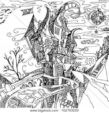 Hand drawn fantasy castle. Black illustration on white background. Witch house.