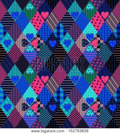 Seamless patchwork pattern with hearts. Bright fabric design. Vector illustration of quilt.