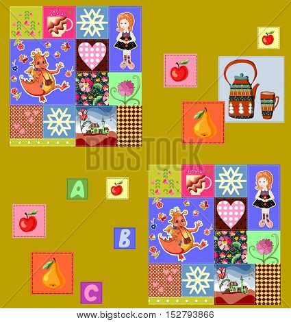 Childish seamless patchwork pattern with fairy motifs. Cute vector illustration of quilt.