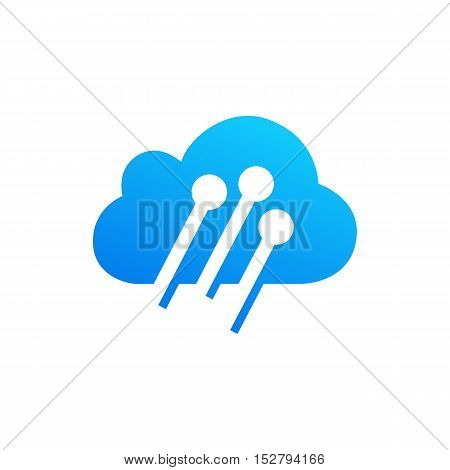 Cloud computing and storage vector logo. Technology design template