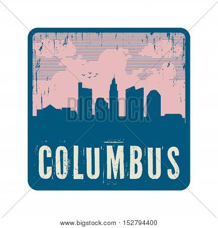 Grunge vintage stamp with text Columbus vector illustration