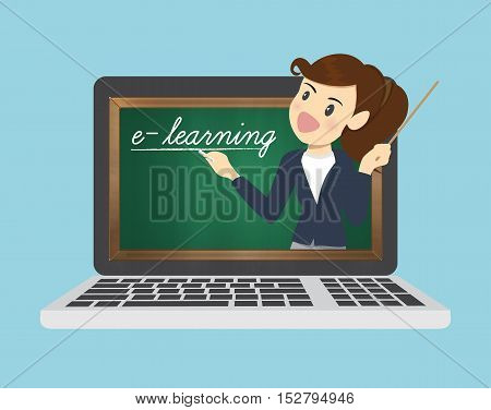 E-learning online on website.business concept. vector illustration.