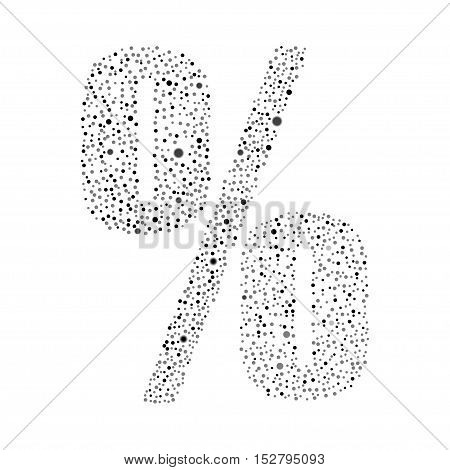 Sign percent logotype vector design. Excellent illustration. Modern Signs Circle Bubble White Symbol Icon on Black Background. Vector Object for Web Design.