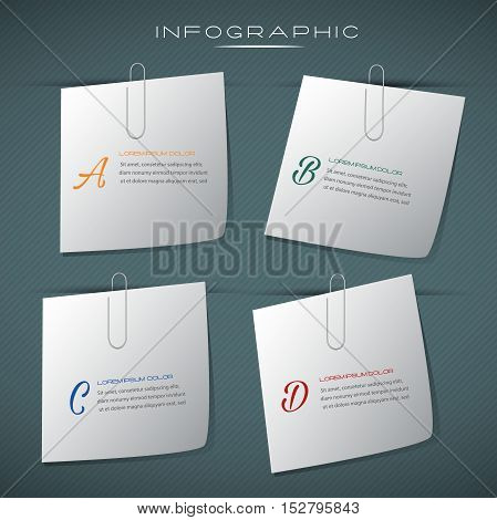Note pad business design infographic.Can be used for business layout, banner, diagram, statistic, web design, info chart, brochure template. vector illustration