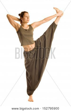 Woman in oriental pants doing yoga.Isolated on white