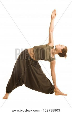 Woman in oriental pants doing yoga isolted on white