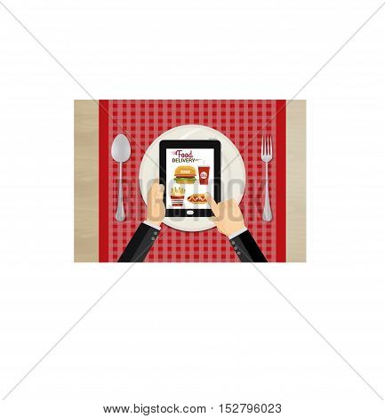 Food and fast food delivery online on smartphone. business concept design.Vector illustration.