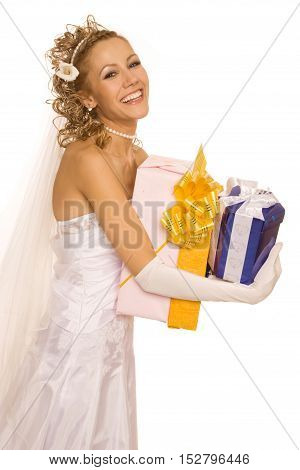 Happy bride with presents. Isolated on white