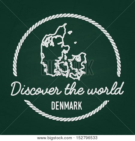 White Chalk Texture Hipster Insignia With Kingdom Of Denmark Map On A Green Blackboard. Grunge Rubbe