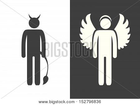 angel and devil on the black and white background