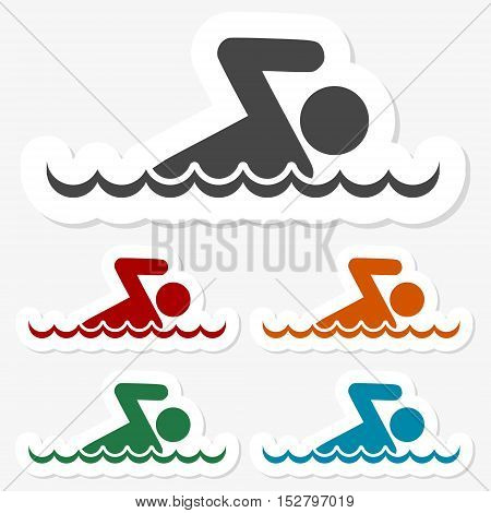 Multicolored paper stickers - Swim icon on gray background
