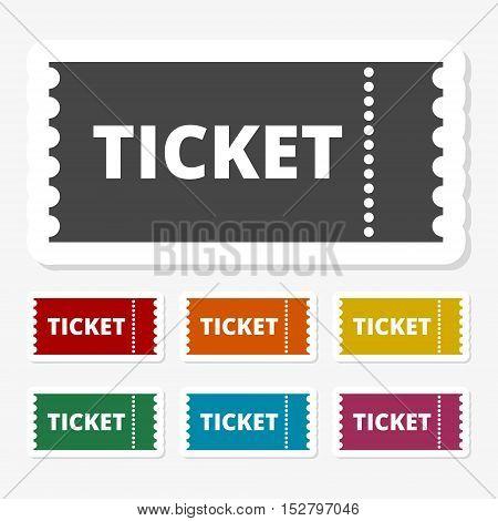 Multicolored paper stickers - The ticket icon, Ticket symbol