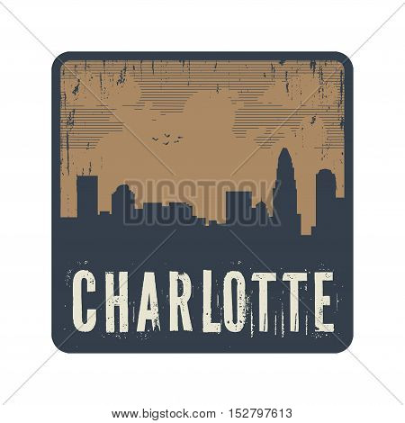 Grunge vintage stamp with text Charlotte vector illustration