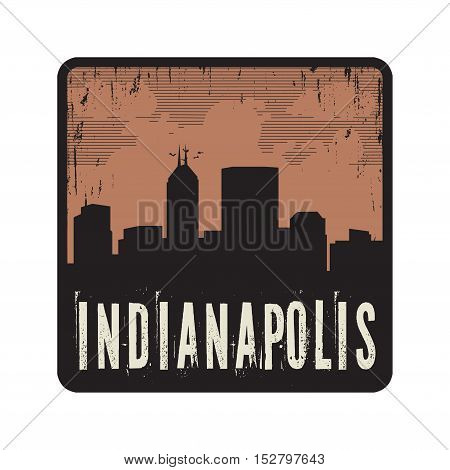 Grunge vintage stamp with text Indianapolis vector illustration