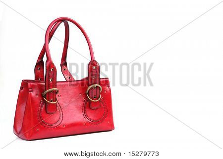 Red purse isolated on white.