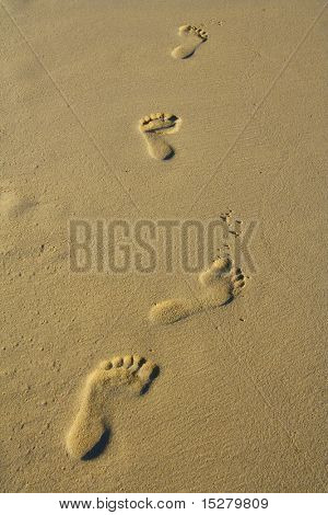 Foot steps in the sand
