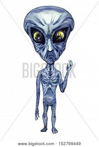 Portrait of gray alien, hand painted watercolor illustration