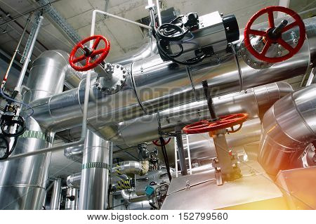 Industrial Zone, Steel Pipelines, Valves And Tanks