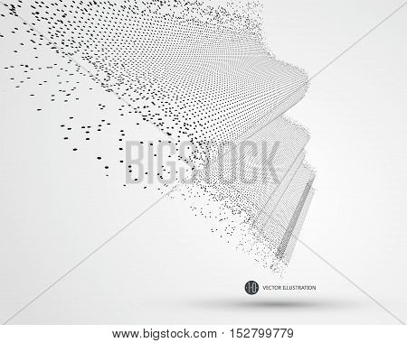 Wave-like pattern composed of particles science and technology illustration.