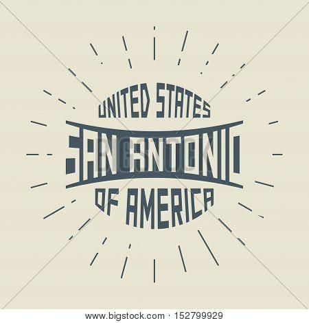 Grunge vintage round stamp with text San Antonio Texas vector illustration
