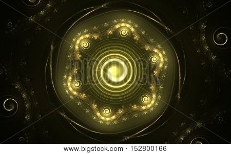 Abstract glowing fractal yellow flower with helical spirals to the center and around the floral pattern on a black background