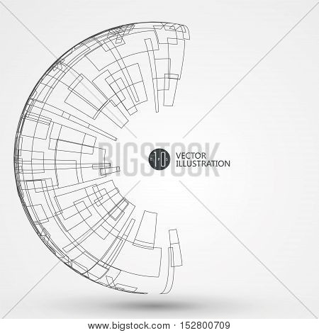 Abstract wireframe, Vector graphics design,science and technology illustration.