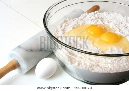 Baking ingredients, flour and eggs