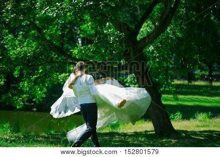 Handsome Groom Man Circling Bride