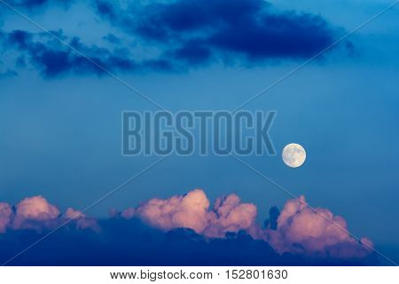 Cloudscape with blue sky and moon wide angle image