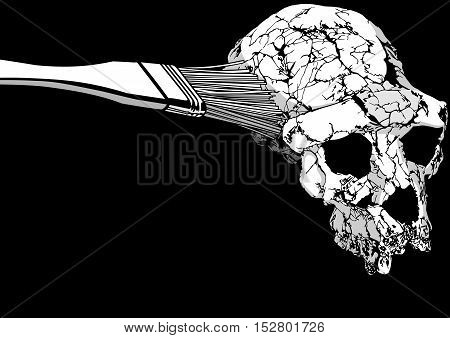 ancient human scull anthropology illustration art vector