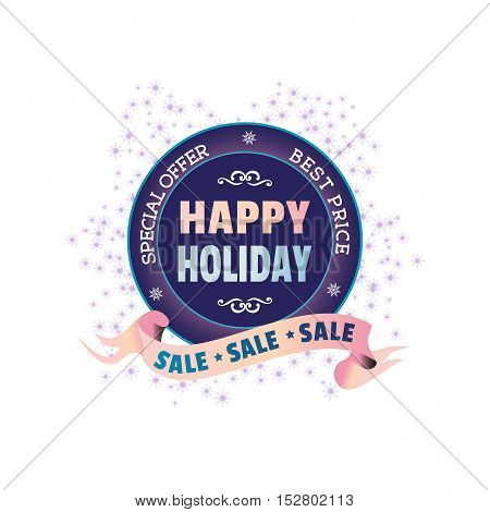 Winter sale concept. Best price Happy holiday season badge. Special offer promotion emblem. Flat design element Christmas decoration. Background for festive hot deal advertisement. Vector illustration