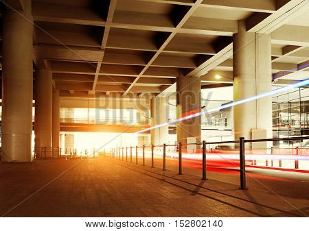 Night view of viaduct at Shanghai Pudong International Airport, China.